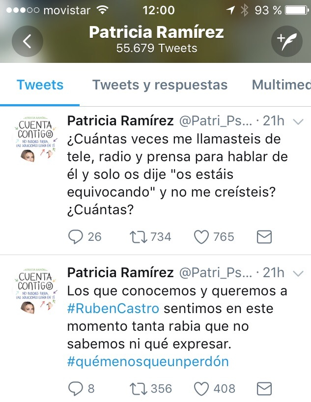 Patricia Ramírez Twitter Ruben Castro
