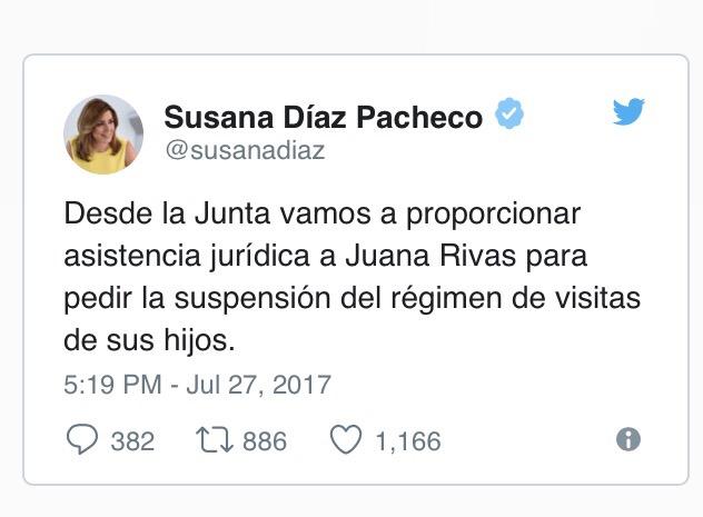 Tuit de la presidenta de la Junta de Andalucía ofreciendo asistencia jurídica a Juana Rivas.